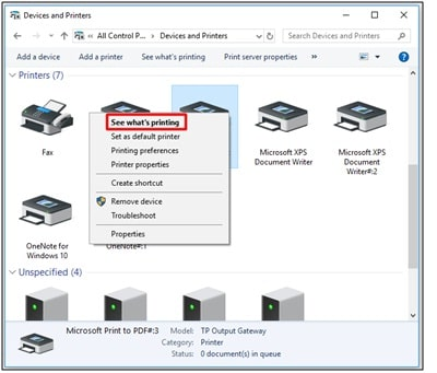Devices and Printers - Printer Error State
