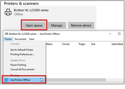 Printers and Scanners - Printer Error State