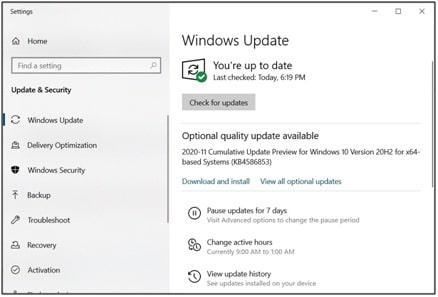 Windows Update - Printer Error State